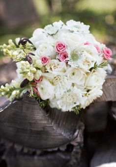 Elizabeth Wray Design-Bride's bouquet of roses, dahlias, snapdragons, fern curls, rosemary, and rununculus.