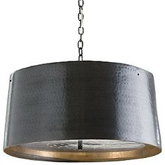 Anderson 21 Inch Large Pendant - hand hammered iron drum shade pendent in bronze finish features a double diffuser suspended from within. Perforated metal bottom allows light to illuminate and suspends from matching linked chain. Brass Pendant Light, Drum Pendant, Drum Chandelier, Pendant Lighting, Chandeliers, Bliss Home And Design, Metal Drum, Drum Shade, Bronze Finish