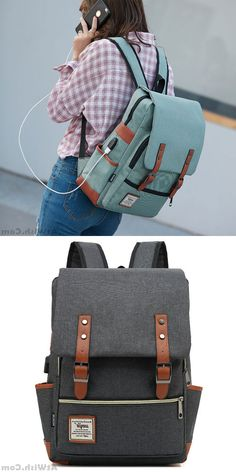 Cheap Fashion Large Thick Canvas Girl's College Bag Double Belt USB Interface School Backpack For Big Sale! What's In My Backpack, Lace Backpack, Retro Backpack, Backpack For Teens, Backpack Bags, Diaper Backpack, Messenger Bags, Cute Backpacks, Girl Backpacks