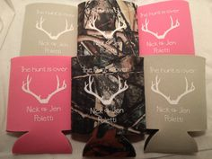 Wedding Can Koozies  favors Screen Printed by odysseycustomdesigns