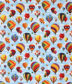 blue In Motion hot air balloon sky fabric from Elizabeth's Studio USA
