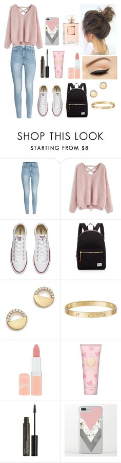 """Lazy School outfit"" by pinkj3w3l ❤ liked on Polyvore featuring H&M, Chicwish, Converse, Anatomy Of, Herschel Supply Co., Bloomingdale's, Cartier, Rimmel, Tory Burch and NYX"