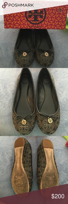 Authentic in box Tory Burch Chelsea flats Authentic in box Tory Burch Chelsea flats. Worn one time. Inside and top of shoe is flawless. The bottom has some mark due to talking on blacktop. The shoe has Tory Burch stitched logo all on it with bow and Tory charm. Size 7.5 Tory Burch Shoes Flats & Loafers