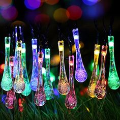 Solar Outdoor String Lights GDEALER 30 LED Water Drop Solar String Fairy  Waterproof Lights Christmas Lights Solar Powered String Lights For Garden  Patio ...