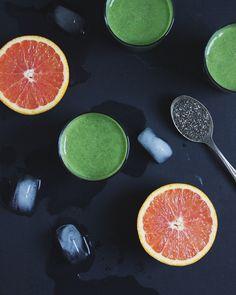 tropical green smoothie (banana, orange, kale, pineapple, chia seeds, almond milk)