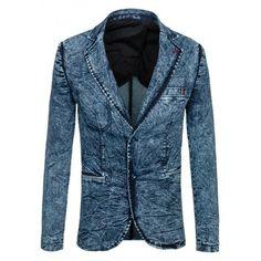 Moderné pánske sako modrej farby s džínsovým vzorom - fashionday.eu Blazer, Jackets, Women, Fashion, Down Jackets, Fashion Styles, Jacket, Blazers, Fashion Illustrations
