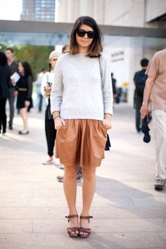 leather skirt + clogs