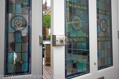 Extra wide Victorian front entrance door and frame. This lead glass is very intricate and is a excellent example of the quality of our doors. the doors are fitted with Banham locks for extra security and ensures a high quality of build - Cotswood Doors