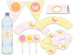 Festa Borboleta, provençal - aniverários - chá de bebê - casamento, noivado - rosa, amarelo e branco Tuty - Arte & Mimos www.tuty.com.br