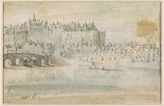 Attributed to L. de Lincler active century, View of Tours from the North with a study of a bridge. Verso: Chateau d'Amboise Seen from the River, River Drawing, French School, Morgan Library, Over The River, 16th Century, Vintage World Maps, Bridge, Castle, Museum