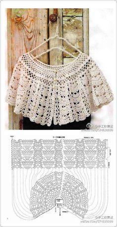 Crochet cape – Fashion World Crochet Diy, Beau Crochet, Pull Crochet, Bonnet Crochet, Cardigan Au Crochet, Crochet Cape, Crochet Collar, Crochet Blouse, Irish Crochet