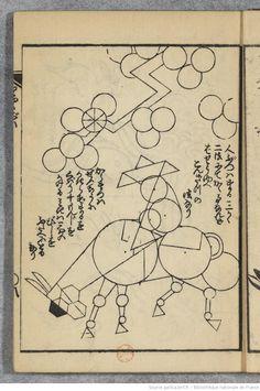 Hokusaï (1760-1849). Leçons de dessin par la décomposition géométrique. Bibliothèque nationale de France, département Estampes et photographie.