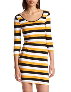 There's something about this honey bee stripe dress that has us buzzing... Available at Charlotte Russe.