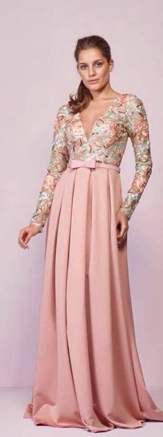 pink printed gown with sleeves