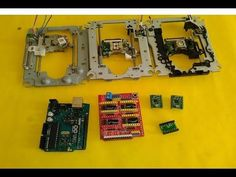 Basic setup ArduinoUNO + CNC SHIELD + GRBL + 3 X DVD Drive steppers - YouTube