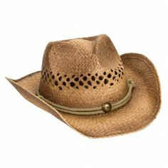 Peter Grimm Brown Straw Desperado Cowgirl Hat 90bb61e2a476