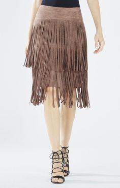 BCBGMAXAZRIA Rashell Faux-Suede Fringe Pencil Skirt | BCBG.com