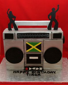 3D boombox cake with silhouette dancers
