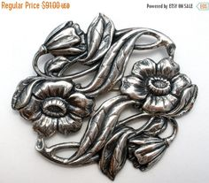 Sale Sterling Silver Brooch Art Nouveau by TheJewelryLadysStore