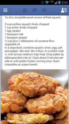 Fried squash croquettes...delicious but add some cornmeal Side Dishes Easy, Vegetable Side Dishes, Vegetable Recipes, Vegetarian Recipes, Cooking Recipes, Tasty Dishes, Squash Croquettes, Squash Fritters, Squash Patties