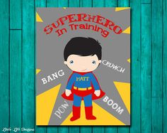 Superhero In Training. Superhero Bedroom Decor. Personalized Children's Wall Art by LittleLifeDesigns