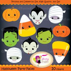 Halloween clipart Halloween Party Faces Digital images Dracula Vampire Pumpkin Candy Corn Frankenstein Frankie Mummy clip arts DIY pf00044-7 by PaintingFairyClipart on Etsy https://www.etsy.com/uk/listing/109112723/halloween-clipart-halloween-party-faces
