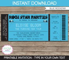 Concert Ticket Invitation Template Interesting Little Rockstar Boy's Birthday  Diy Printable Party Pack  Birthday .