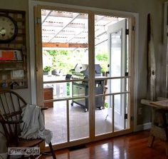Has french doors and no way to put it screens. Thanks for this idea!Installing screen doors on french doors. easy and cheap! via Funky Junk Interiors Double Screen Doors, French Doors With Screens, Diy Screen Door, Funky Junk Interiors, Patio Doors, Carport Patio, Do It Yourself Home, Diy Home Improvement, Home Projects