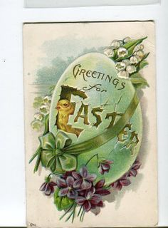 Easter  Postcard chick breaking out of  by sharonfostervintage, $3.00