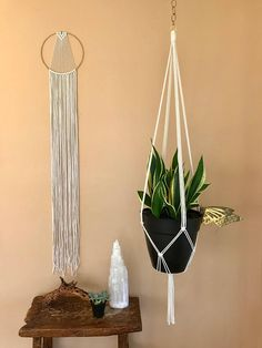 Dreamy handmade macrame wall hanging, made from natural cotton rope and a 10 brass ring. Features a sleek modern design and long fringe. Makes a lovely gift! Measures approx. 60 total length. This item is READY TO SHIP! ✦ 6 Ring Version ✦ www.etsy.com/listing/263389468 ✦ 14 Ring