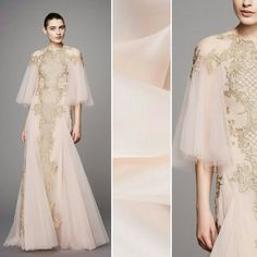 Marchesa's new line is absolutely elegant. Are you creating any garments inspired by it? Try a cream pink silk organza, item #PV3000-111 on moodfabrics.com.  #fabric #fabricshopping #moodfabrics #mood #fashion #instafashion #lovetosew #sewing #fashiondesign #fall #autumn #winter #inspiration #trends #holiday #christmas #highfashion #eveningwear #formal #gown #luxury #garmentdistrict #designer #runway #marchesa #style