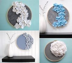 Go three dimensional with these felt flower embellished fabric in embroidery hoops by Dashing Ect on Etsy. Via Scoutie Girl (Apartment Therapy)