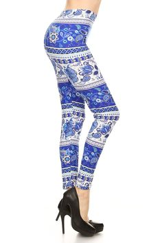 The Blue Lagoon - - fun paisley geometric patterned leggings - Click now to order! Soft and comfy, this could be part of the perfect outfit for spring fashion, from a casual and classy school outfit to a trendy work or date night statement. Pairs well with simple or more fancy accessories, whatever your style!