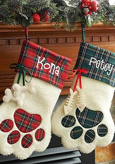 Personalized Paw Christmas Stockings for Dogs - CountryLiving.com