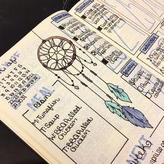 40 Inspiring Dream Catcher Bullet Journal Layout Ideas - Stephanie David - My Pin February Bullet Journal, Bullet Journal Cover Page, Bullet Journal 2020, Bullet Journal Notebook, Bullet Journal Layout, Bullet Journal Ideas Pages, Bullet Journal Inspiration, Bujo, Bellet Journal