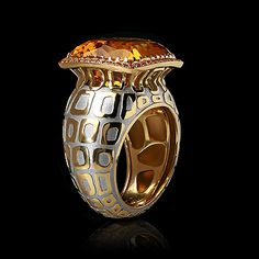 Mousson Atelier New Age Collection Temari ring Yellow gold 750, Citrine 12.4 ct., Orange sapphires