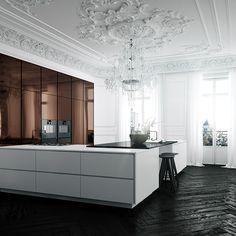 Parisian Kitchen - © kokoviz 2018 #kokoviz, #kitchencgi, #kitchenrender, #kitchengoals, #kitchendesign, #parisian, #derry, #ireland, #parisiankitchen, #parisiandesign, #cinema4d, #coronarender, #kbb, #photorealism, #white, #copper, #elegance Küchen Design, Layout Design, House Design, Design Ideas, Home Decor Kitchen, Interior Design Kitchen, Interior Styling, Interior Decorating, Parisian Kitchen