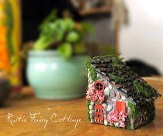 Tiny Rustic Fairy House  Miniature Stone by bewilderandpine