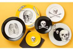 Scary Skull Chargers from Martha Stewart Crafts  - DIY craft ideas for #Halloween entertaining
