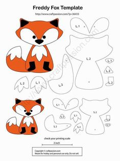 Printable Fox Pattern | Fox Softie Pattern - templates only (can\'t ...