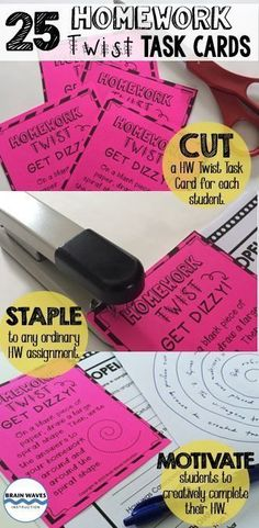 If you're looking to increase the homework completion and engagement in your classroom, you'll love these Homework Twist Task Cards!  The 25 Homework Twist Task Cards are all about adding a little novelty and fun to traditional homework assignments. Each task card instructs students to complete their homework in a fun way.  Just staple them to any ordinary homework assignment and motivate students to creatively complete their homework!