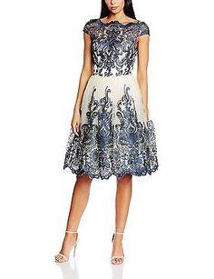 8, Blue (Navy), Chi Chi London Women's Cap Sleeve Baroque Style 41735bl Dress NE
