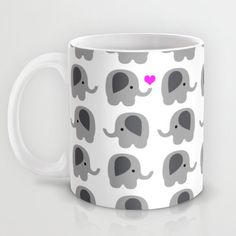 Coffee Mug Elephants with Hearts - Elephant Love - 11 oz - 15 oz - Ceramic Mug - Lots of Elephants - Made to Order This mug is made using