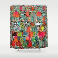 Color Riot Abstract Art Collage Shower Curtain by Sheree Joy Burlington - $68.00