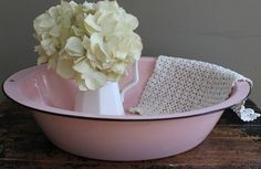 Antique Pink Enamel Baby Bathtub Nursery Decor by MyVintageLane, $95.00