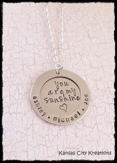 You Are My Sunshine Mom Necklace with Children's Names - Personalized and Hand-Stamped - Nickel Silver on Etsy, $29.00