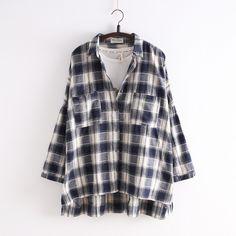 Navy/Black Korean Style Student Lattice Shirt SP154034
