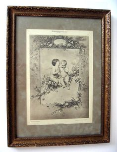 Antique Cupid Print Victorian Timoleon Marie Lobrichon Original Frame New Arrival at Victorian Rose Prints on rubylane.com