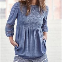 Anthropologie Tops - NWT Meda Lace top XSP by One September blue