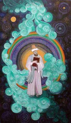 Kainat ve Mevlana Composition Painting, 6th Grade Art, Turkish Art, National Art, Islamic Art Calligraphy, Ottoman, Visionary Art, Science Art, Textile Artists